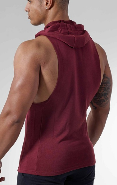 65% Cotton 35% Polyester Gym Tops Sleeveless Bodybuilding Men Hoodie