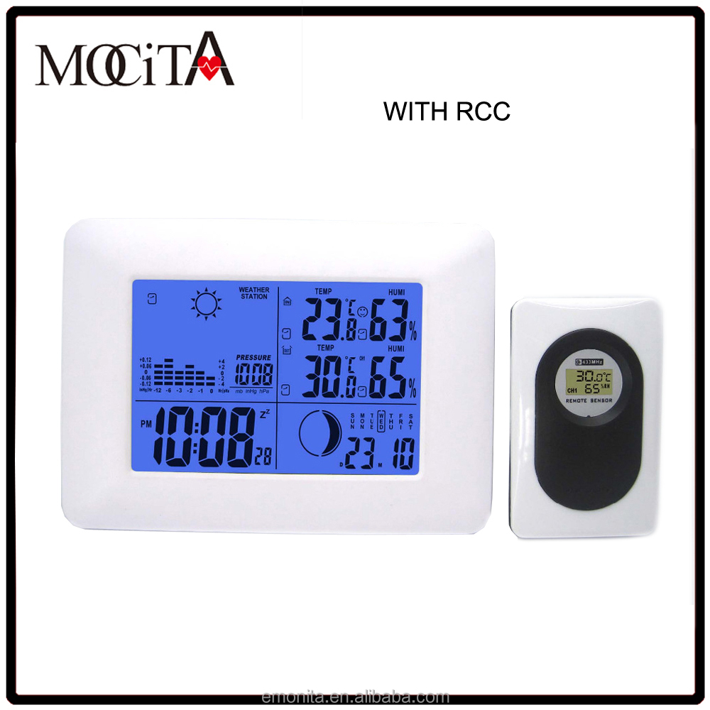 Digital weather station table clock Wireless RCC weather station clock with doule alarm and snooze