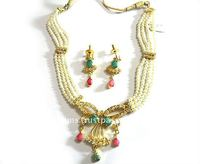 Pear Necklace set (Raani Haar) with earring Indian Jewellery (Semi Precious Stone)