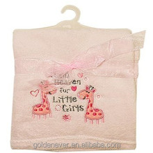Baby Embroidered coral fleece blanket cheap fleece blankets in bulk baby blankets