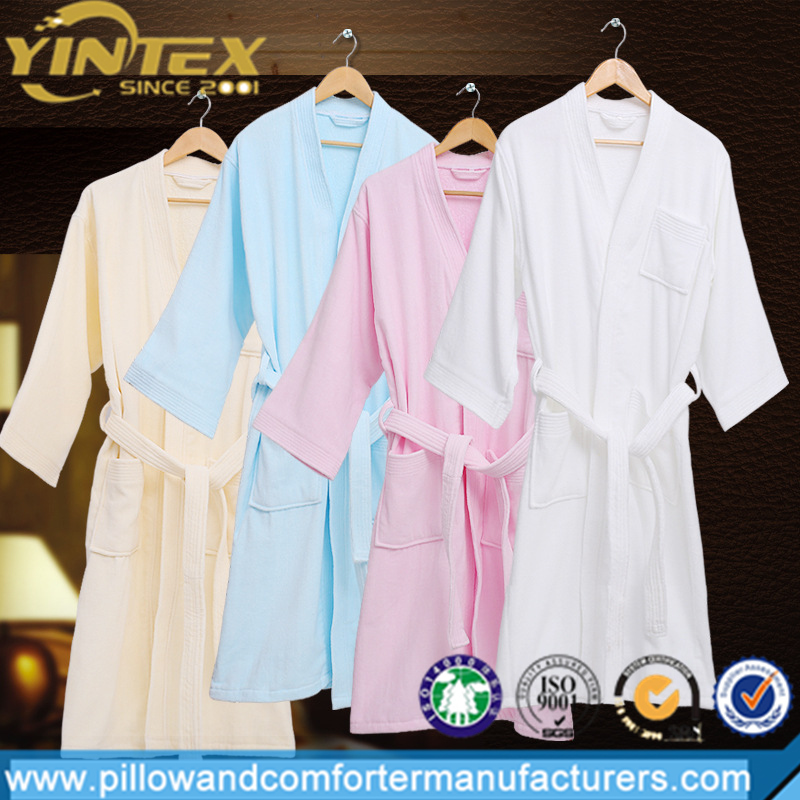 Amazon hot selling dressing gown robe 100% cotton cutting velvet bathrobe