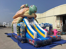 Chilren's world inflatable bouncy castle with water slide,playground jumping,fashion inflatable turtle bouncer