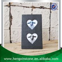 Factory Direct Price 29*17cm Handmade Unique Decorative Customized Laser Design Natural Stone Double Heart Photo Frame