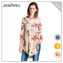 Simple design but fashion Babydoll Floral Ladies Tunic Top Wholesale