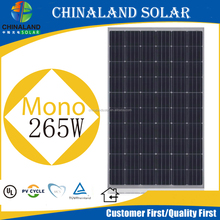 High quality solar panel for home mono 265w solar modules with CE/CEC/TUV/UL/IEC/ ISO certificates/265wp mono
