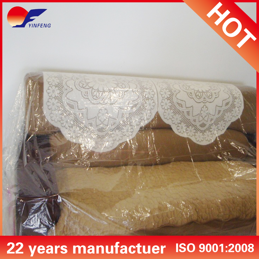 Clear plastic sofa cover for protection