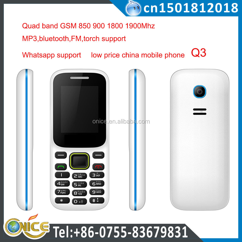 Cheap quad band gsm 850 900 1800 1900 mhz low price china mobile phone with whatsapp torch GSM phone Q3