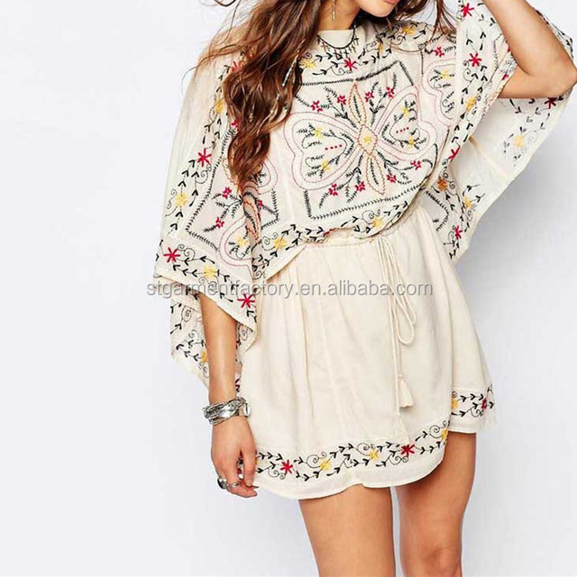 Spring Summer Floral Embroidered Women Dress Batwing Sleeve Vintage Ladies Chic Clothing STb-0478