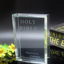 New design k9 crystal bible book model trophy award for Christian gifts