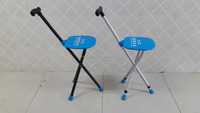 BME11001 Aluminum walking stick cane with seat and 3 main lightweight aluminum tripod tubes