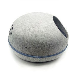 2018 Best Cat Cave Bed Gray White Natural Felted Large Covered Cozy Cat Cave