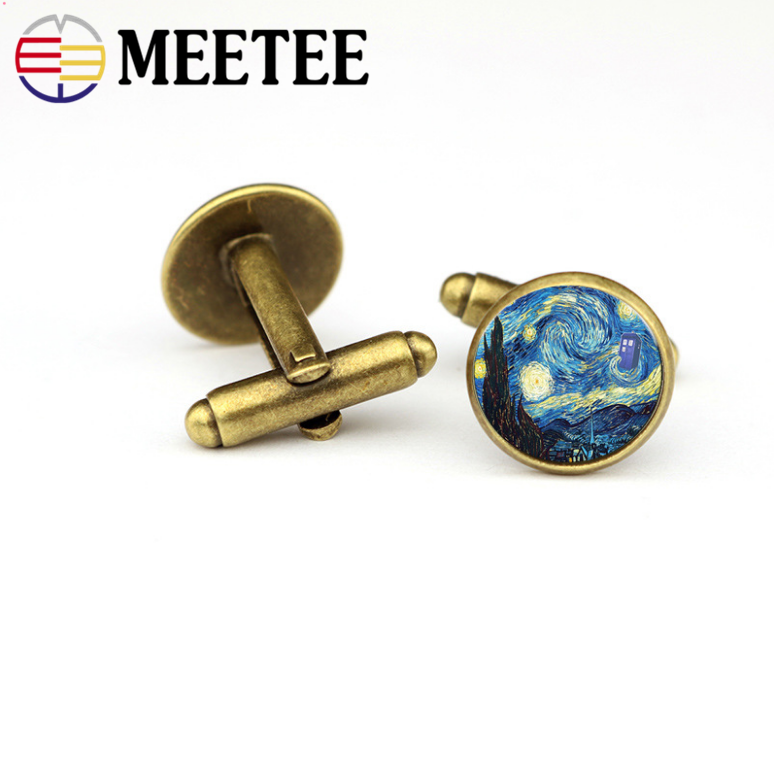 20mm cufflinks oil painting style The Starry Night man's shirt cuff buttons