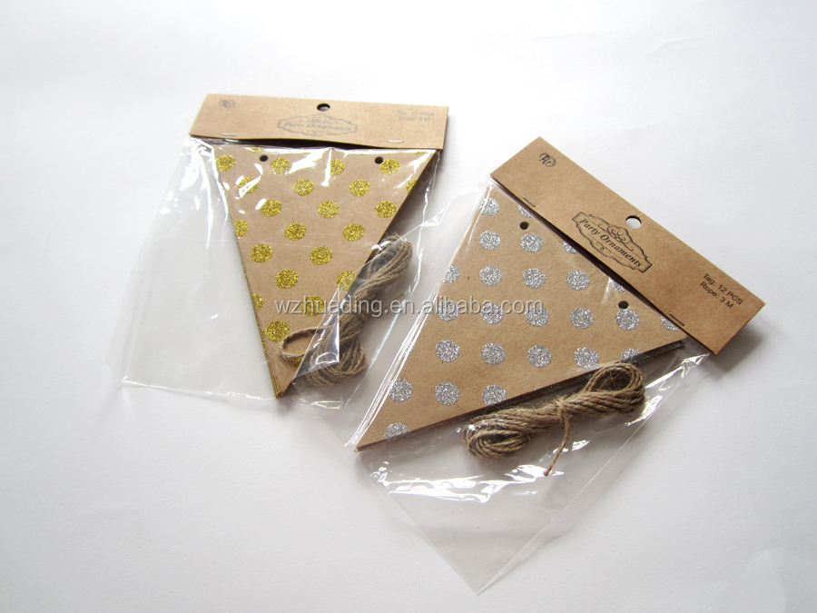 Customized paper toothpick flags/ glitter powder hang kraft paper printing flags