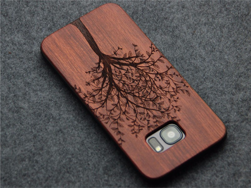 Support laser engraving real bamboo wood mobile phone case for Samsung s7edge