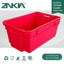 ZJCX583824W Restaurant Supplies Plastic Vegetable Fruit Strong Unfoldable Stackable Storage Moving box/Basket/Crate