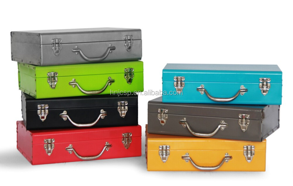 New arrival colorful blue small rectangle customized metal storage box