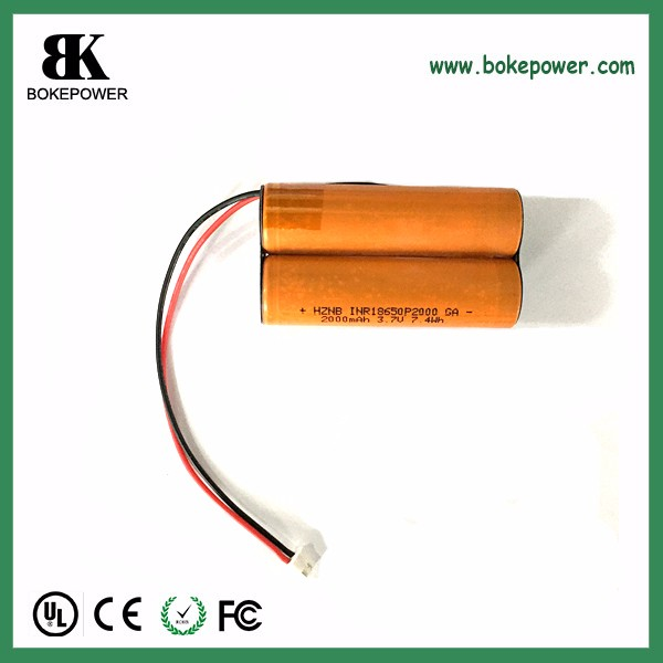 li ion battery 18650 7.4v 2000mah P2000 5C high rate discharge battery pack