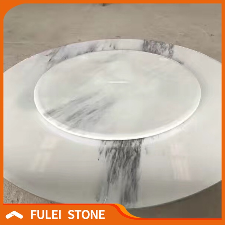 High Polished Natural Round White Marble Dining Table Tops