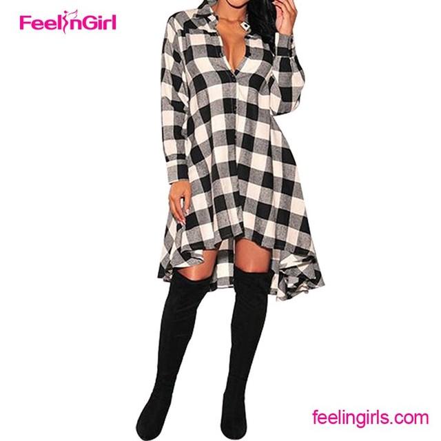 Check Plaid Printed Long Sleeve Shirt Dress FashionDress