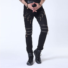 Latest Fashion High Quality Distressed Crazy Black Denim Jeans Men