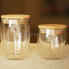 small order 80ml 250ml 350ml double wall borosilicate glass cup with wooden seal lid