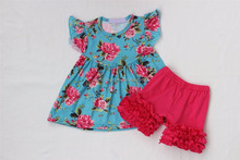 Newest Newborn Baby girls Clothing Boutique flutter sleeve flower print pearl tunic top matching icing ruffle short