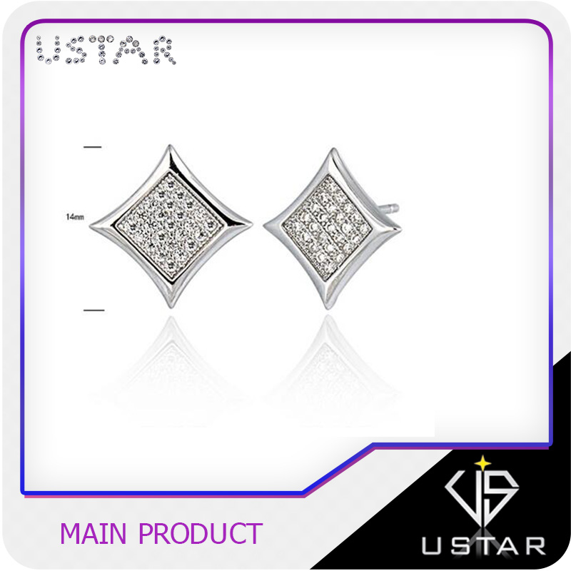Best selling women accessories fashion jewellery design square stud earrings