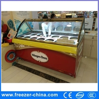 curved glass counter top chest freezer for ice cream chain or cake shop or Coffee Bar
