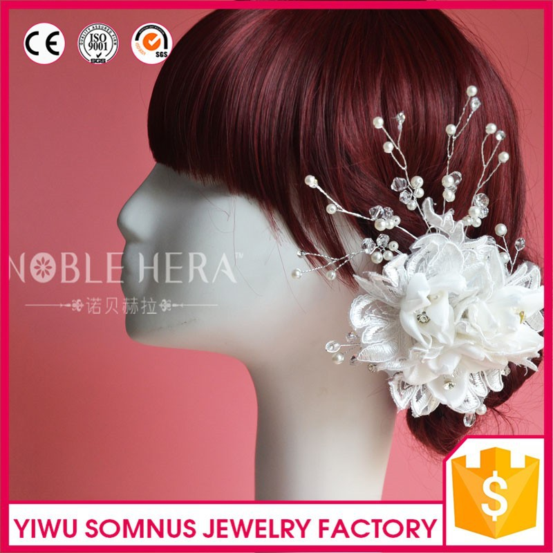 cheap white flower wedding bridal hair accessories chinese