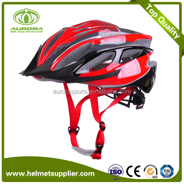 Red Streamline Great Ventilation Women Bike Helmet With Visor