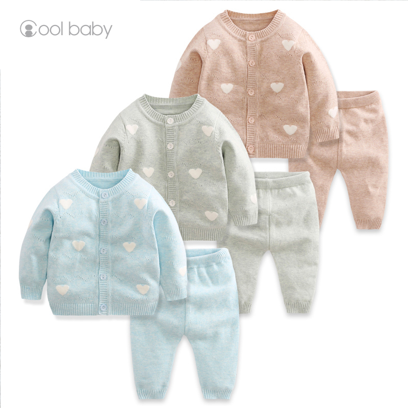 Factory 2019 A/<strong>W</strong> new love pattern color cotton thick yarn baby knitting pullover set