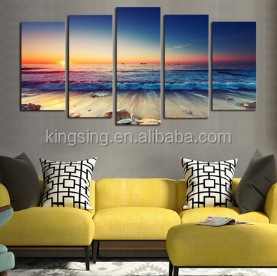 5 Panels Modern Fashion Canvas Printed Painting Beach Picture Printed on Canvas Wall Art Decoration(Not Framed) (Size: 60cm by 1