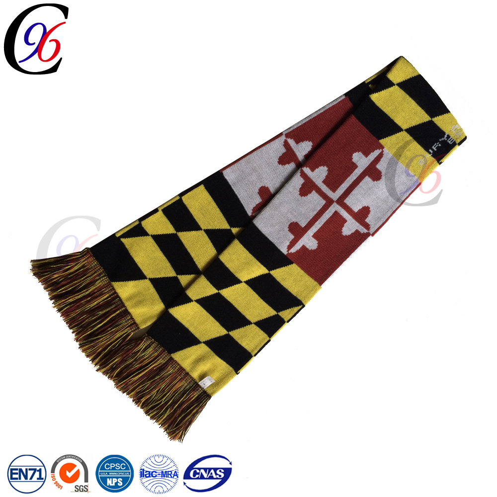 Chengxing custom woven jacquard pattern football soccer fan knitted crocheted scarf