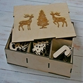 Natural wood color christmas gift box