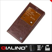 QIALINO 2015 genuine real leather smart window view case for galaxy SamSung S5