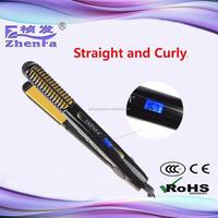 2 in 1 LED temperature display hair straightener and curling iron ZF-3227