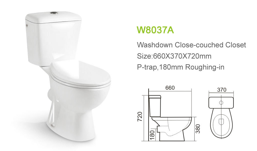 Two piece sanitary ware P trap Chinese standard doul flush wc western toilet