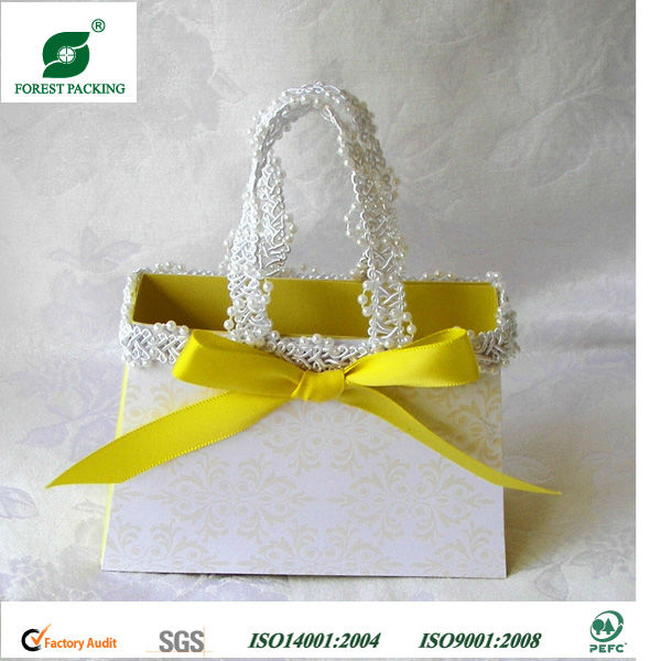 PAPER PURSE YELLOW DAMASK GIFT FAVOR BOX