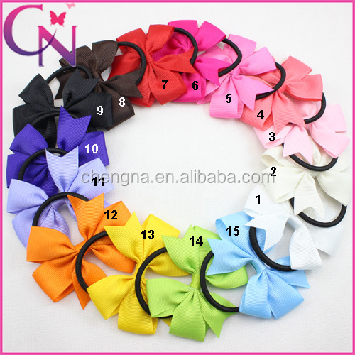 Hot Sale Grosgrain Ribbon Elastic Hair Band Ponytail holder Pinwheel Baby Hair Bow
