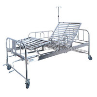 Two Revolving Levers Stainless Steel Manual Hospital Bed