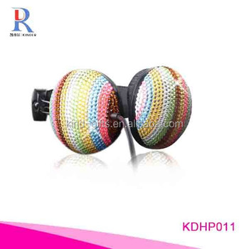 Music Wired Bluetooth Headphone with rhinestone crystals