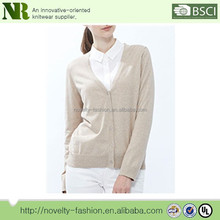 100% cotton women's v neck long sleeve cardigan sweater