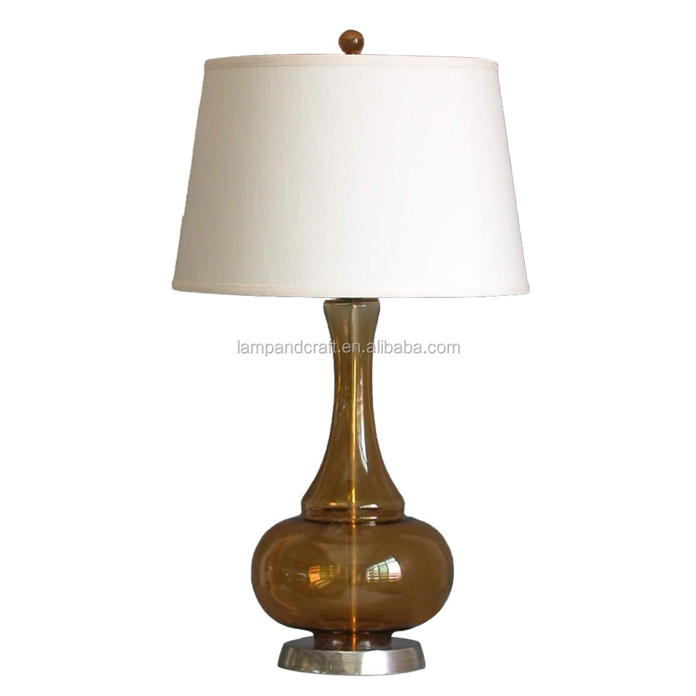 CE ROHS UL Home decorative usa table lamp manufacturers Khaki Glass table lamps with white Handmade fabric shade