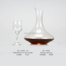 2016 good selling hand made borosilicate lead free clear glass wine decanter /single glass decanter