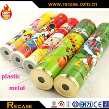 promotional plastic red kaleidoscope toy with big crystal lens made in china for kids