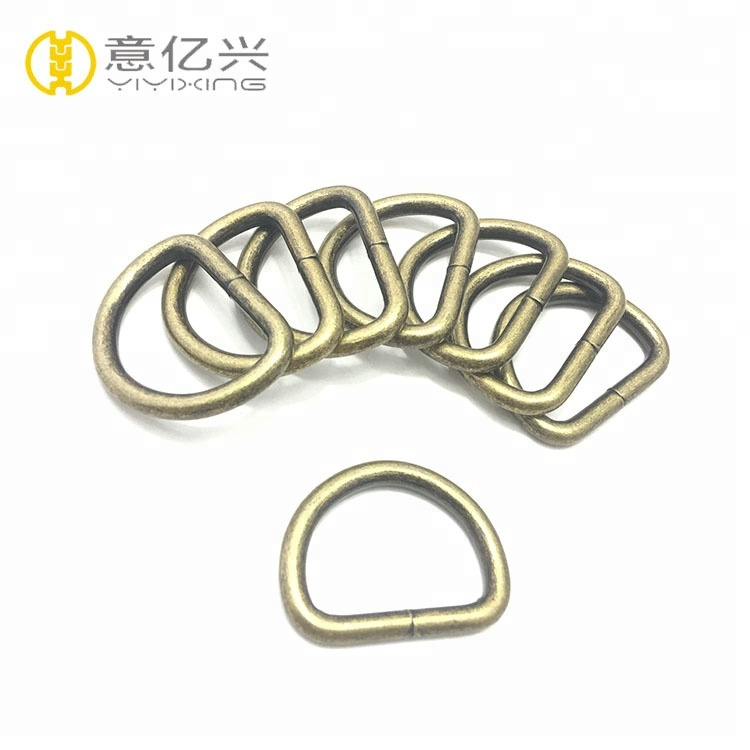 Wholesale bag accessories decorative handbag buckle metal <strong>d</strong> rings snap hook