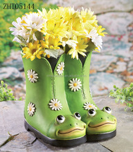 frog design ceramic boot planter