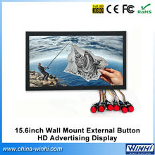 "Full HD H.264 Push butotn indoor digital signage 15.6"" led tv monitor mp4 video player led commercial advertising display screen"