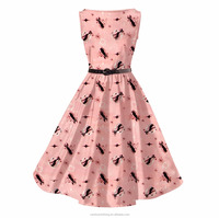 2017 New Fashion Women Cotton Novelty Pink Kitty Print Circle Swing Club Party Dress