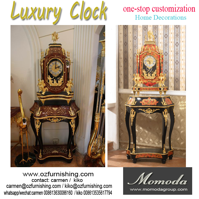 Luxury 24K gold Decoration home standing clock antique classic home standing big clock